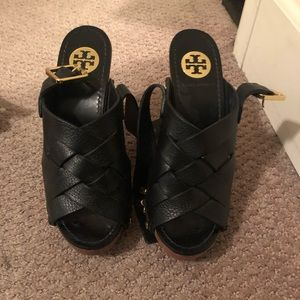 Tory Burch- black leather woven Jodie
